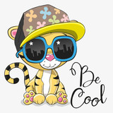 Cute Tiger with sun glasses