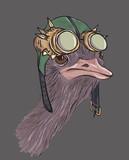 Ostrich dressed up in steampunk hat - 200263082