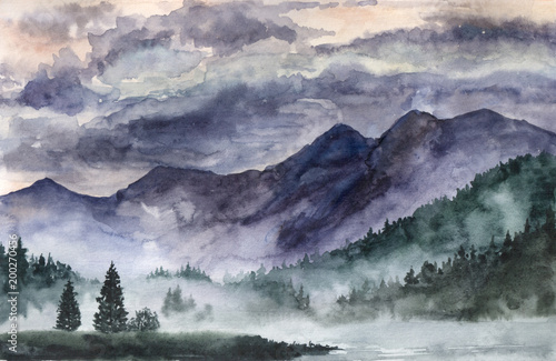 hand-drawn-watercolor-landscape-norway-cold-nature