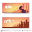 Miami and Detroit famous city scapes. - 200272418