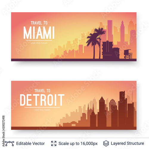 Sticker Miami and Detroit famous city scapes.
