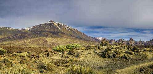 Panorama view of the Teide volcano from the southern side in February 2018