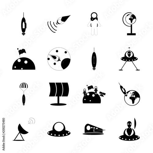 Fototapeta icon Cosmos with rocket, cosmos, cosmic, earth and alien