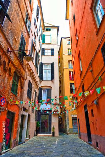 Aluminium Liguria glimpse of the historic center of Genoa Italy
