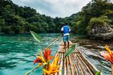 Fototapeta Sypialnia -     Bambus Fahrt in blue lagoon auf Jamaika  © ajlatan