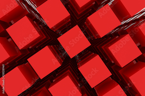 Perspective view of red color grossy cubes or boxes. Shape, pattern, colorful, wallpaper, artistic & digital. - 200281461