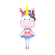 Watercolor multicolored unicorn isolated on white background - 200288655