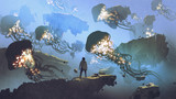dreamlike scenery of a man looking at giant jellyfishes floating in the sky, digital art style, illustration painting - 200293893
