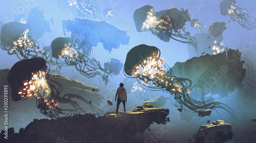 dreamlike scenery of a man looking at giant jellyfishes floating in the sky, digital art style, illustration painting © grandfailure