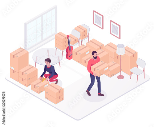 Caucasian white couple moving to a new house and packing boxes. Young woman and man packing stuff in cardboard boxes while moving house. Vector cartoon isometric illustration on white background.