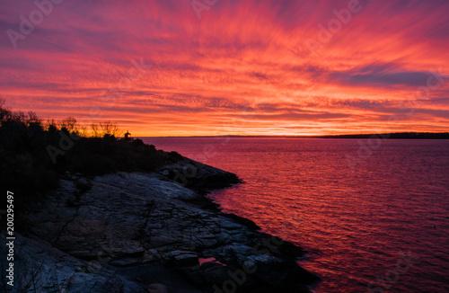 Fotobehang Zee zonsondergang Orange Blast