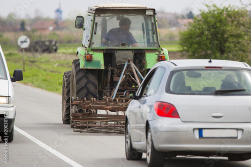 Fotobehang Trekker tractor on the road