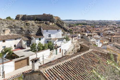 a view over the suburb of Calatayud city and the castle Real (Del Reloj), Province of Zaragoza, Spain