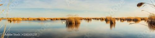 Poster Panoramafoto s Seewinkel im Nationalpark Neusiedler See (A)