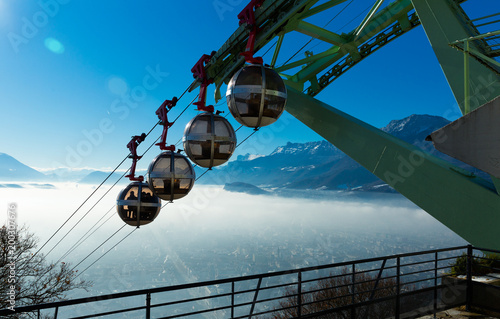 Foto Murales City view from the mountain  of Grenoble with cable car