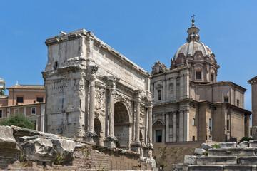 Capitoline Hill, Septimius Severus Arch at Roman Forum in city of Rome, Italy