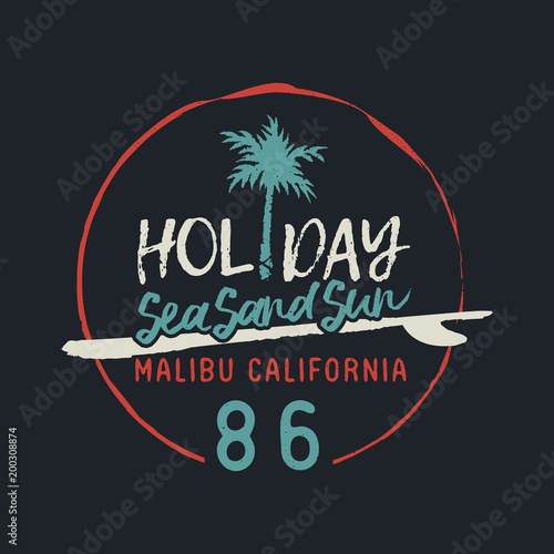 Malibu california vintage surf club text label