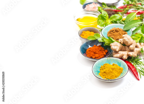 Herbs spices white background Healthy organic food