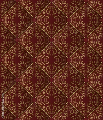 vintage bacground with golden ornament, seamless pattern - 200312685