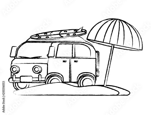 sketch of surf van and parasol on the beach over white background, vector illustration