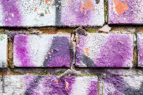 Fotobehang Baksteen muur Broken brickwall at abandoned factory building exterior