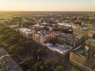 Aerial view of downtown Savannah, Georgia, USA at dawn.