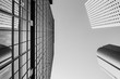 Bottom up view of Modern office building in Hong Kong with B&W color