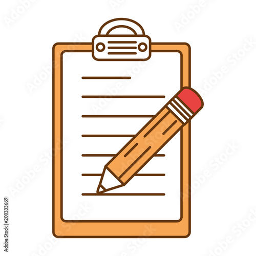 pencil write in clipboard vector illustration design