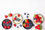 Sweet pastry with berries baking. Top view, mockup for recipe, culinary classes, cooking blog.