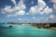 Blue sky & turquoise water. Cruising out of the port of St John's, Antigua on a beautiful day, Caribbean.