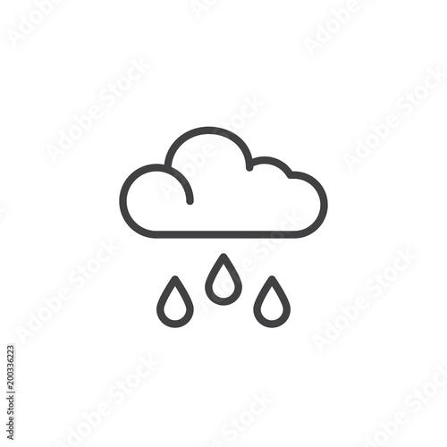 Ikona konspektu chmury i deszczu. Znak stylu liniowego dla koncepcji mobilnej i projektowanie stron internetowych. Deszczowa pogoda prosta linia wektor ikona. Symbol, ilustracja logo. Doskonała grafika wektorowa pikseli