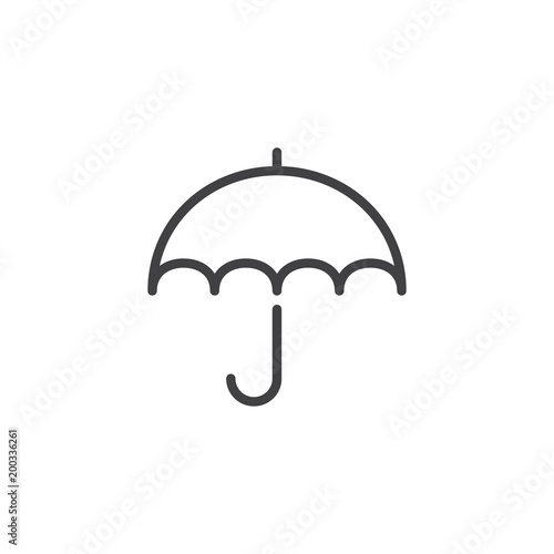 Umbrella outline icon. linear style sign for mobile concept and web design. Rainy weather line vector icon. Symbol, logo illustration. Pixel perfect vector graphics