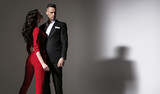 Portrait of an elegant couple - isolated - 200338071