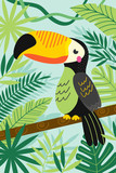 toucan on branch among tropical plants - vector illustration, eps