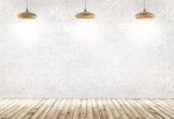 Interior background of a room with three wooden lamps over concrete wall 3d rendering - 200339007