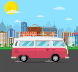 retro travel van car with bag on roof. - 200341835