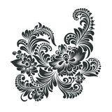 black and white floral ornament in folk style  - 200342401