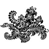 black and white floral ornament in folk style  - 200342415