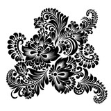 black and white floral ornament in folk style  - 200342425