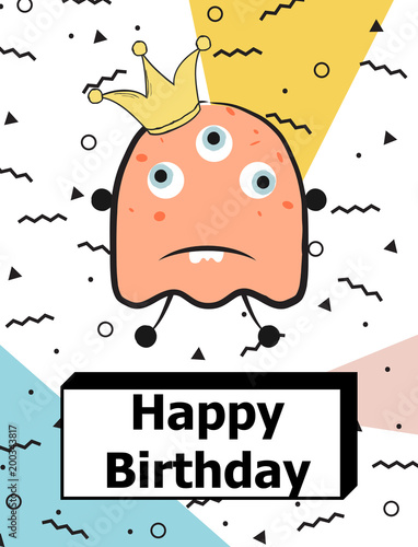Foto op Plexiglas Retro sign happy birthday monster
