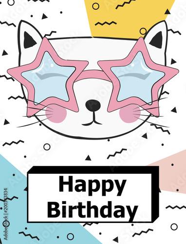 Foto op Plexiglas Retro sign happy birthday card