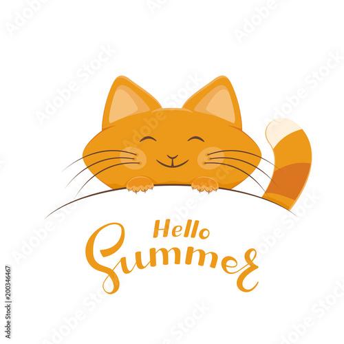 Kitten and lettering Hello Summer
