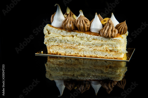 Foto op Plexiglas Kiev delicious piece of double layer Kiev cake with cream and nuts