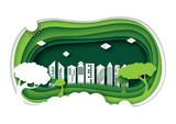 Green eco friendly urban city with 3d paper layer cut abstract nature background.Ecology and environment conservation concept design paper art style.Vector illustration. - 200350042