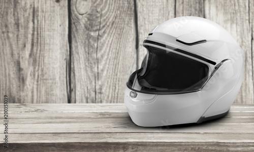 Biker helmet isolated on a table