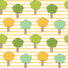 cute cartoon seamless vector pattern striped background illustration with trees © Alice Vacca