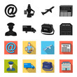 The postman in uniform, mail machine, bag for correspondence, postal office.Mail and postman set collection icons in black,flet style vector symbol stock illustration web.
