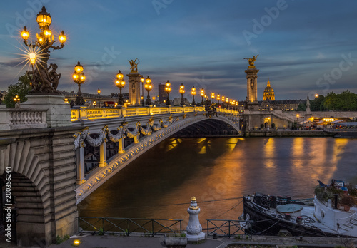 Poster Paris evening at Alexender bridge