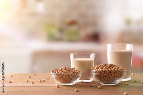 Fotobehang Sap Reptientes with soy milk and grains in rustic kitchen front