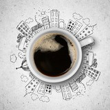 Cup of coffee and illustration